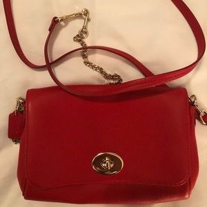 Coach NEW Red Leather Crossbody Purse